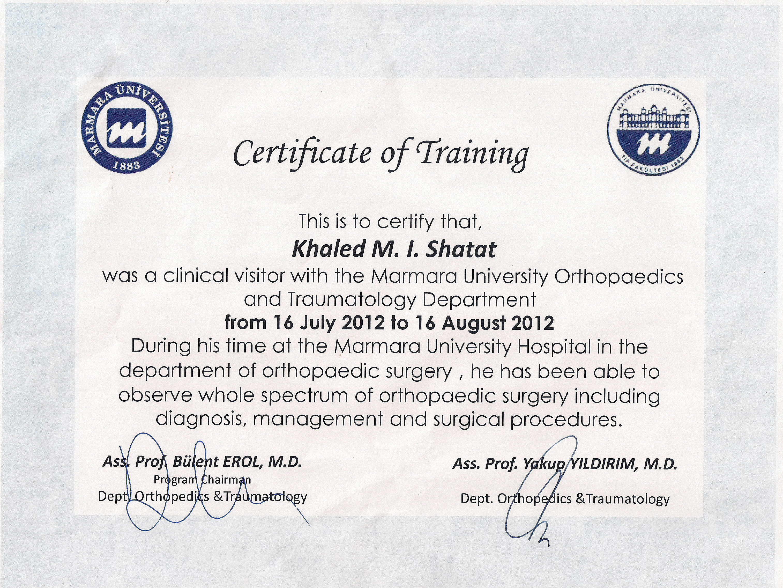 Turkey dr anwar i alshaikhkhalil certificate of training shatat xflitez Choice Image